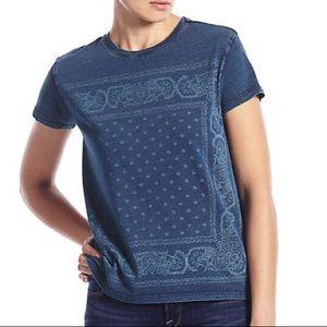 Lucky Brand | Navy Blue Bandana Print Tee—M